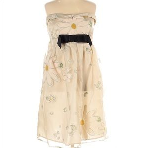 Red Valentino Dress Chiffon Floral Strapless Mini